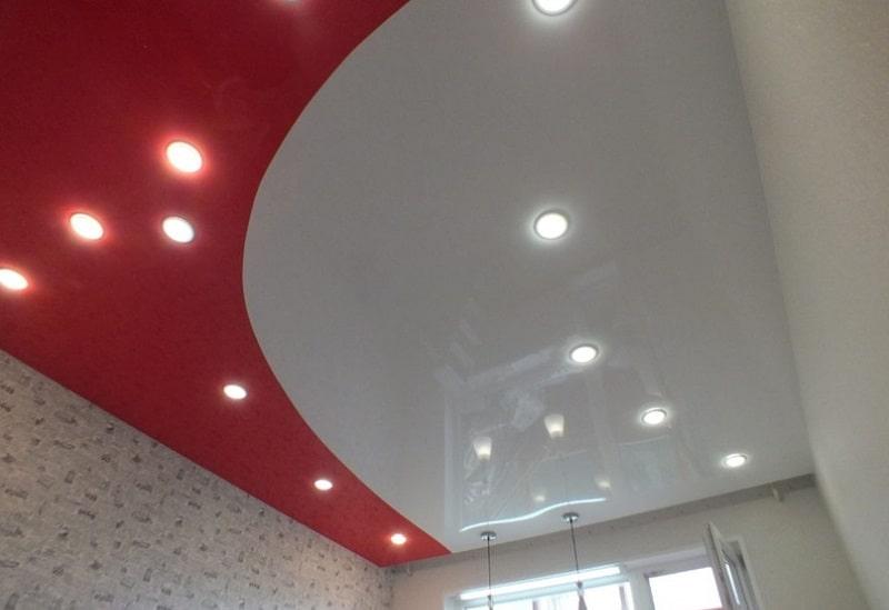 Комбинированный натяжной потолок №5