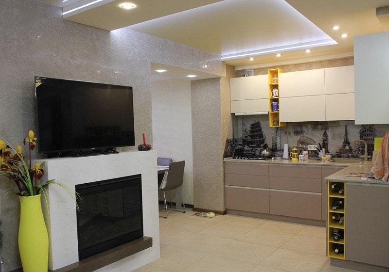 Натяжной потолок на кухню №3