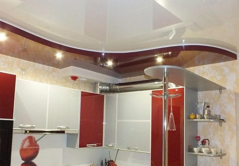 Натяжной потолок на кухню №7