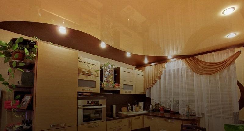 Натяжной потолок на кухню №8