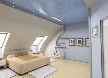 Натяжной потолок на мансарде №1