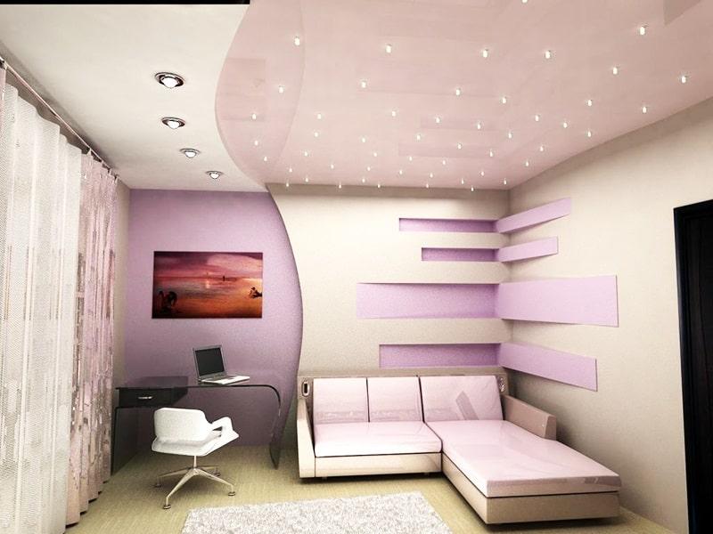 Натяжной потолок в маленькой комнате №1