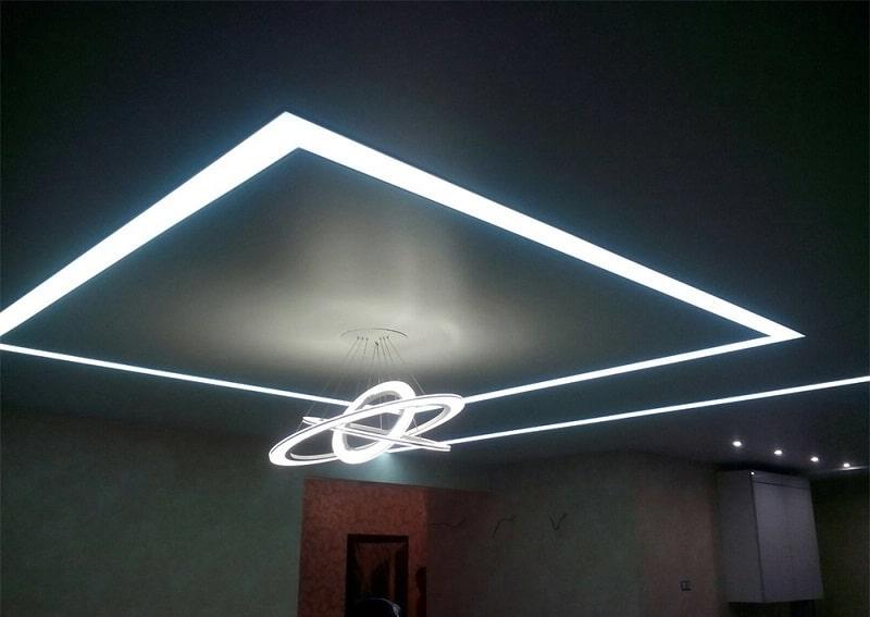 натяжные потолки световые линии №2