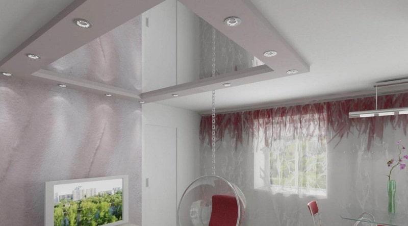 Зеркальный натяжной потолок №6